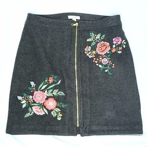 Loft | Floral Embroidered Wool Skirt